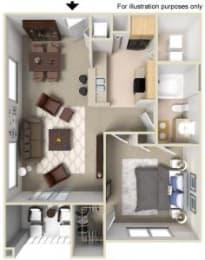 Rapallo Apartments Capri 1 bedroom floor plan, opens a dialog