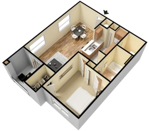 Rapallo Apartments Capri B 1 bedroom floor plan, opens a dialog
