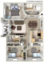 Rapallo Apartments Tuscany B 3 bedroom floor plan, opens a dialog