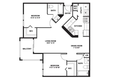 Bougainvillea - 2 Bedrooms 2 Baths - 1,094 Sq. Ft., opens a dialog