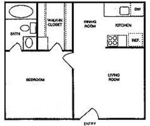 Riverstone one bedroom apartment 2D floor plan, opens a dialog