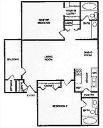 Riverstone two bedroom apartment 2D floor plan, opens a dialog