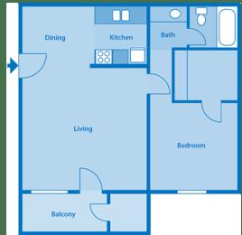Tanglewood One Bedroom Medium Floor Plan, opens a dialog