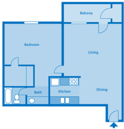 Tanglewood One Bedroom Large Floor Plan, opens a dialog