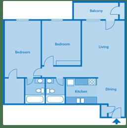 Tanglewood Two Bedroom Floor Plan, opens a dialog
