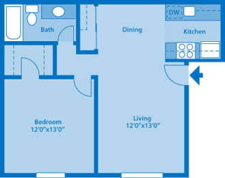 The Springs 1 Bedroom Floor Plan The Waterfall, opens a dialog