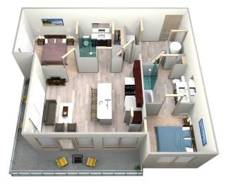 Indigo Floor Plan at Azure Houston Apartments, Houston, Texas, opens a dialog