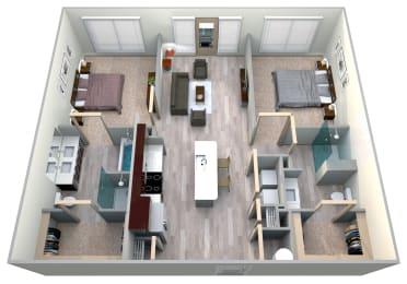 Midnight Floor Plan at Azure Houston Apartments, Houston, Texas, opens a dialog