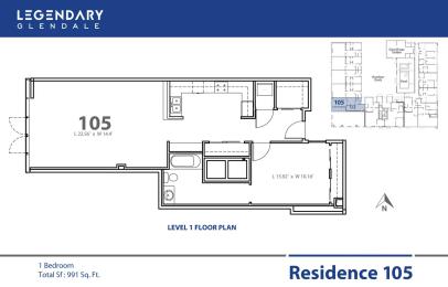 Floor Plan 105 in Legendary Glendale, Modern Apartments in Glendale, 300 N Central Ave, opens a dialog