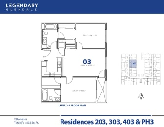 Legendary Glendale Floor Plan 03 in Glendale, CA, 300 N Central Ave, opens a dialog