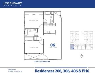 Legendary Glendale Floor Plan 06, Luxury Apartments in Glendale, 91203, opens a dialog