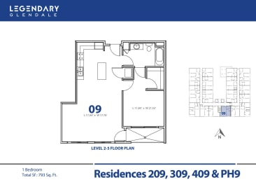 Floor Plan 09 at Luxury Apartments in Glendale, California, Legendary Glendale, opens a dialog