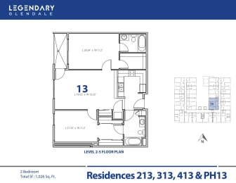 Floor Plan 13 at 300 N Central Ave, Legendary Glendale Luxury Apartments in Glendale, CA, opens a dialog
