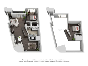 Floor Plan 1 bedroom 1 bath loft penthouse, opens a dialog