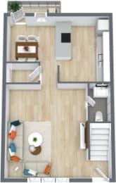Floor Plan 2 Bedroom 1 1/2 Bath Townhome, opens a dialog