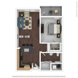 A1 with furniture Floor Plan at 45 Madison Apartments, Missouri, 64111, opens a dialog