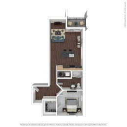 A3 with furniture Floor Plan at 45 Madison Apartments, Kansas City, MO, 64111, opens a dialog