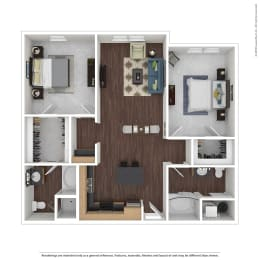 B3 with Furniture Floor Plan at 45 Madison Apartments, Kansas City, opens a dialog