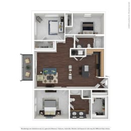C1 with Furniture Floor Plan at 45 Madison Apartments, Kansas City, MO, 64111, opens a dialog