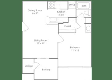 Ascot Floorplan 1 Bedroom 1 Bath 564 Total Sq Ft at The Edge of Germantown Apartments Home, Memphis, TN 38120, opens a dialog