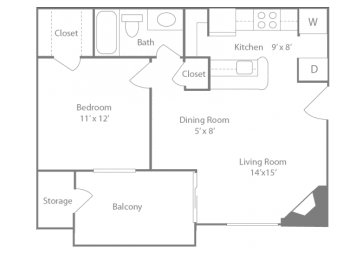 Belmont Floorplan 1 Bedroom 1 Bath 648 Total Sq Ft at The Edge of Germantown Apartments Home, Memphis, TN 38120, opens a dialog