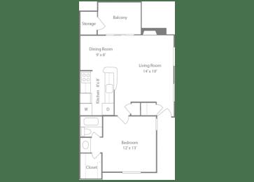 Brighton Floorplan 1 Bedroom 1 Bath 728 Total Sq Ft at The Edge of Germantown Apartments Home, Memphis, TN 38120, opens a dialog