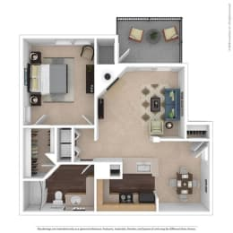 The Bradford Floor Plan at Beacon Ridge Apartments, Greenville, 29615, opens a dialog
