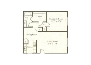 1 bedroom 1 bathroom floor plan at Wellington Estates in San Antonio, TX, opens a dialog