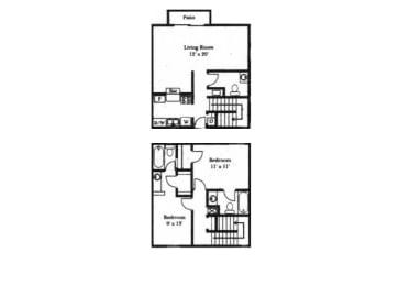 2 bedroom 1-a-half bathroom floor plan at Wellington Estates in San Antonio, TX, opens a dialog