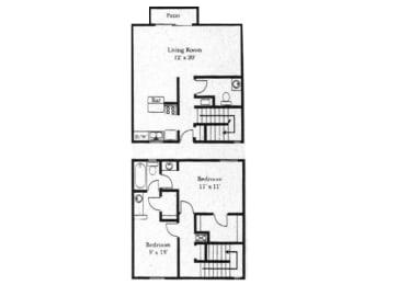 2 bedroom 1 bathroom floor plan at Wellington Estates in San Antonio, TX, opens a dialog