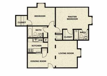 2 bedroom 2 bathroom floor plan at Wellington Estates in San Antonio, TX, opens a dialog