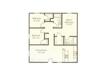 3 bedroom 2 bathroom floor plan at Wellington Estates in San Antonio, TX, opens a dialog