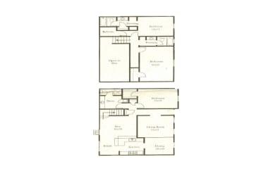 3 bedroom 3 bathroom floor plan at Wellington Estates in San Antonio, TX, opens a dialog