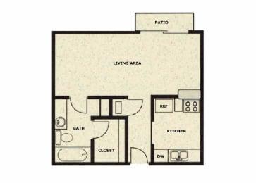 Studio floor plan at Wellington Estates in San Antonio, TX, opens a dialog