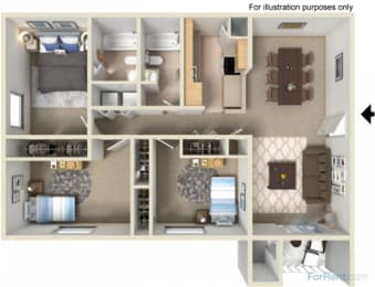 Creekside Apartments 3 bedroom floor plan, opens a dialog