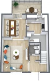Floor Plan 3 Bedroom 2.5 Bath Townhome, opens a dialog