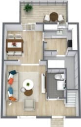 Floor Plan 2 Bedroom 1.5 Bath Townhome, opens a dialog