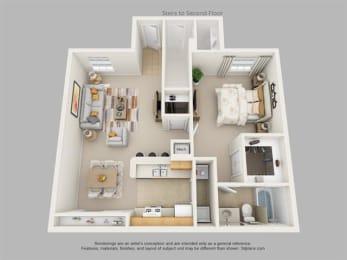 Floor Plan One Bedroom One Bath, opens a dialog