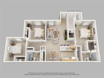 Floor Plan Three Bedroom Two Bath, opens a dialog