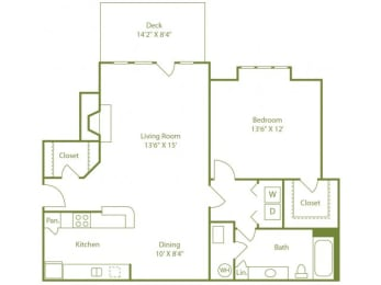 One bedroom one bath apartment home with galley kitchen, dining area, outdoor patio off living room and walk in closet in bedroom., opens a dialog