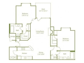 Two-bedroom two bath split floor plan apartment home with laundry room, separate dining area, open living room, outdoor patio and walk in closets in each bedroom., opens a dialog