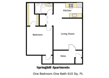 Springhill one bedroom apartment 2D floor plan, opens a dialog