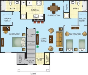 Ponce Harbor Two Bedroom Two Bath Apartment Home, opens a dialog