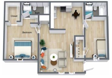 Floor Plan 2 Bedroom 2 Bath, opens a dialog