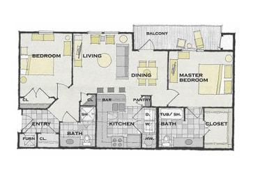 2 bed 2 bath FloorPlan at Apartments at Grand Prairie, Peoria, IL, 61615, opens a dialog