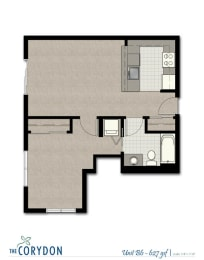 One Bedroom B6 FloorPlan at The Corydon, Seattle, 98105, opens a dialog