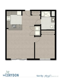One Bedroom B9 FloorPlan at The Corydon, Seattle, opens a dialog