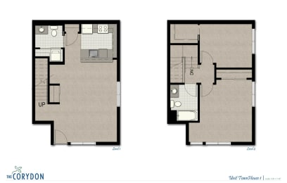 Townhome TH1 FloorPlan at The Corydon, Washington, 98105, opens a dialog