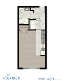 Studio A1 FloorPlan at The Corydon, Seattle, 98105, opens a dialog
