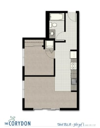 One Bedroom B2 A FloorPlan at The Corydon, Seattle, WA, 98105, opens a dialog